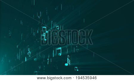 Abstract background with music notes. 3d render digital backdrop.