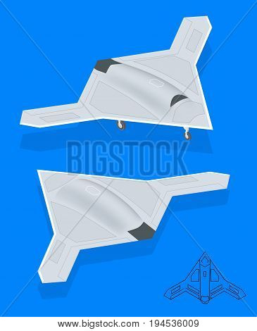 Isometric Long Range Strike-Bomber. Aircraft military mission isolated on background. Military Aircraft transport