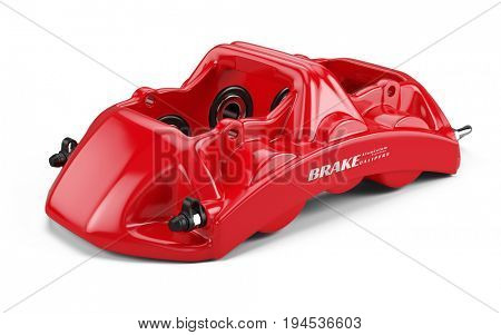 Red Sport Racing Calliper isolated on white background. 3d rendering