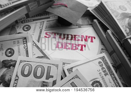 Student Debt Black & White With Money High Quality