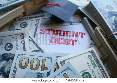 Student Debt With Money Close Up High Quality