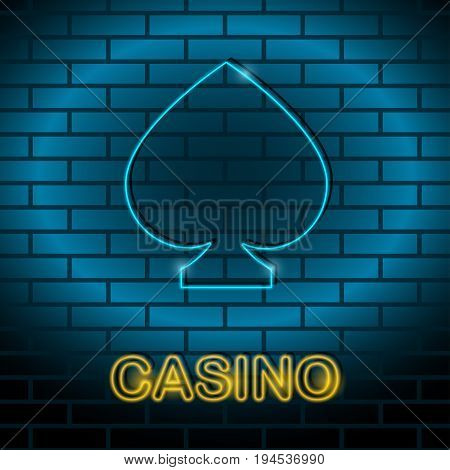 Neon card suit Vector illustration Neon lamp for casino in the form of spades card suit on a brick wall Lamp in form of spades card with blue lighting