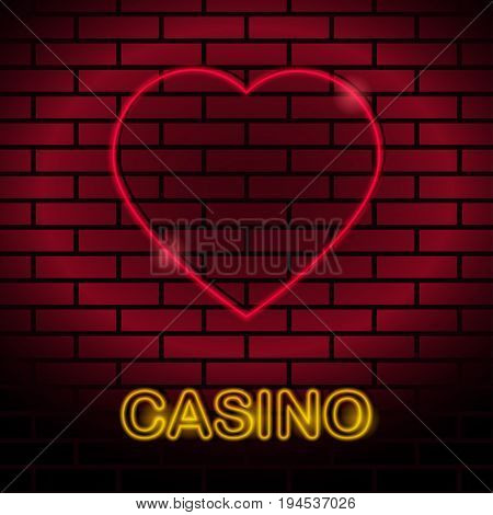 Neon card suit Vector illustration Neon lamp for casino in the form of hearts card suit on a brick wall Lamp in form of hearts card with red lighting