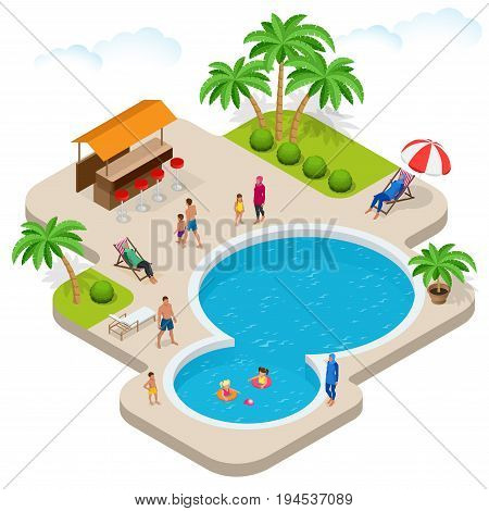 Muslim woman in swimsuit. Isometric Muslim, Islamic, traditional clothing on female. Vector illustration isolated on white