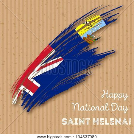 Saint Helena Independence Day Patriotic Design. Expressive Brush Stroke In National Flag Colors On K