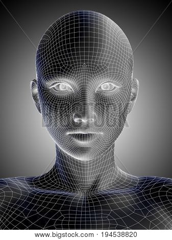 Concept or conceptual 3D illustration wireframe young human female or woman face or head on gray gradient background