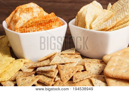Heap Of Salted Crisps And Cookies, Concept Of Restriction Eating Unhealthy Food
