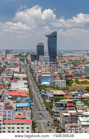 Phnom Penh, Cambodia - March 31, 2017: Aerial view of Phnom Penh, Cambodia. Day time