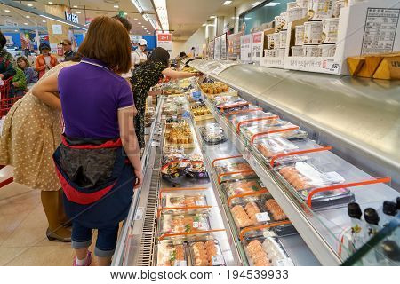 SEOUL, SOUTH KOREA - CIRCA MAY, 2017: inside Lotte Mart in Seoul. Lotte Mart is an east Asian hypermarket that sells a variety of groceries, clothing, toys, electronics, and other goods.