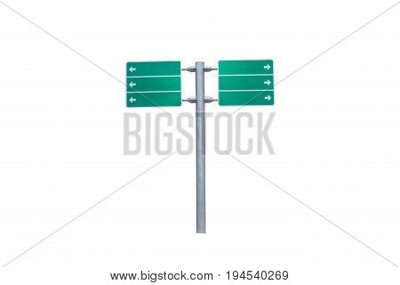 Blank green road sign isolated on white backgroundGreen space for presentation text display and design