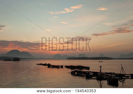 Beautiful sunrise landscape view of Samchong-tai in Phang-NgaThailand