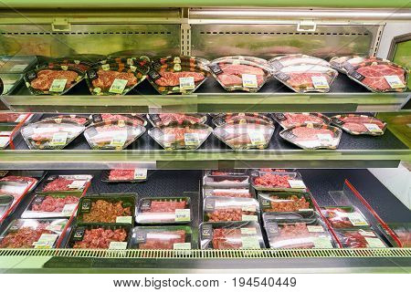 SEOUL, SOUTH KOREA - CIRCA MAY, 2017: meat on display at Lotte Mart in Seoul. Lotte Mart is an east Asian hypermarket that sells a variety of groceries, clothing, toys, electronics, and other goods.