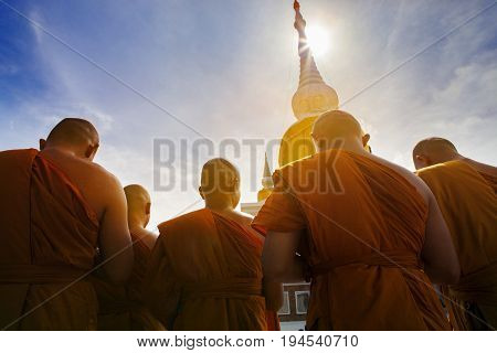thai buddha monk praying at prathat nadun mahasarakham most important religion landmark in thailand