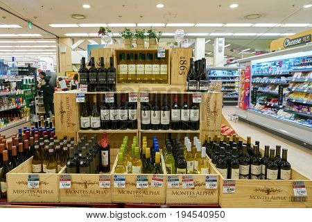 SEOUL, SOUTH KOREA - CIRCA MAY, 2017: wine on display at Lotte Mart in Seoul. Lotte Mart is an east Asian hypermarket that sells a variety of groceries, clothing, toys, electronics, and other goods.