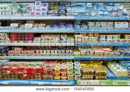 SEOUL, SOUTH KOREA - CIRCA MAY, 2017: yogurt on display at Lotte Mart in Seoul. Lotte Mart is an east Asian hypermarket that sells a variety of groceries, clothing, toys, electronics, and other goods.