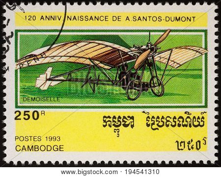 Moscow Russia - April 20 2017: A stamp printed in Cambodia shows ancient aircraft Demoiselle (1909) series