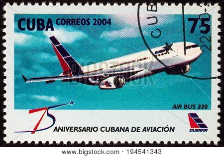 Moscow Russia - July 10 2017: A stamp printed in Cuba shows passenger aircraft Airbus A330 series