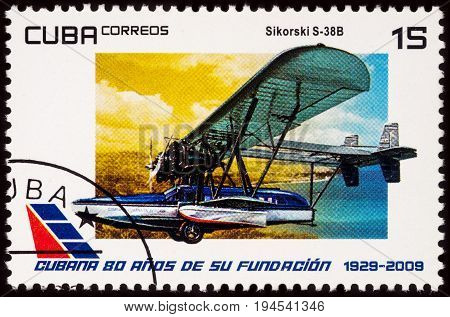 Moscow Russia - July 08 2017: A stamp printed in Cuba shows amphibious aircraft Sikorsky S-38B (1929) series
