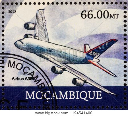 Moscow Russia - July 08 2017: A stamp printed in Mozambique shows passenger airliner Airbus A380 series