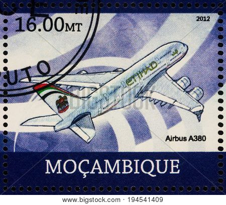 Moscow Russia - July 08 2017: A stamp printed in Mozambique shows passenger aircraft Airbus A380 series