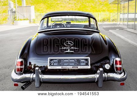 Novosibirsk Russia - June 16 2017: Mercedes-Benz 190 sl. Photography of a classic car on a street in Novosibirsk