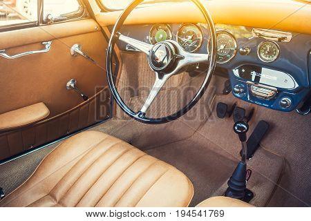 Novosibirsk Russia - June 16 2017: Porsche 356 interior. Photography of a classic car on a street in Novosibirsk