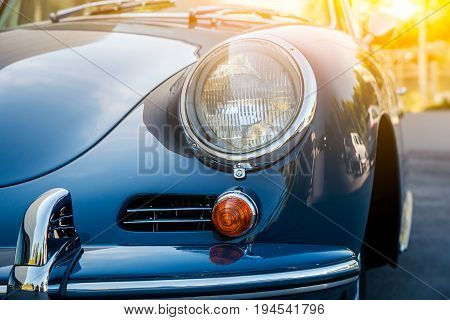Novosibirsk Russia - June 16 2017: Porsche 356 close-up of the headlight. Photography of a classic car on a street in Novosibirsk