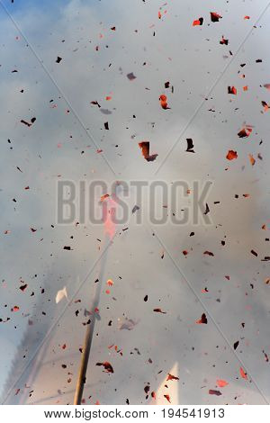 exploding Chinese firecrackers, chinese new year concept, celebration, event
