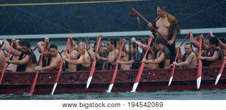 Maori Waka Heritage Sailing In Auckland, New Zealand