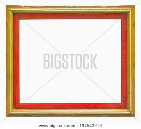 wooden frame with red edge inside on white background