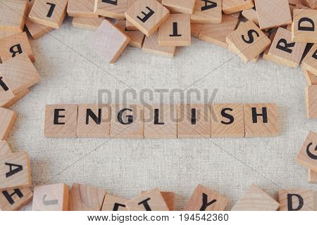 English word made of wooden blocks learn English language concept