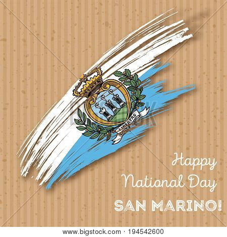 San Marino Independence Day Patriotic Design. Expressive Brush Stroke In National Flag Colors On Kra