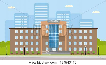 The building of the center for human reproduction. Artificial insemination, in vitro fertilization, treatment of infertility in women and men, sperm Bank. Vector illustration in a flat cartoon style