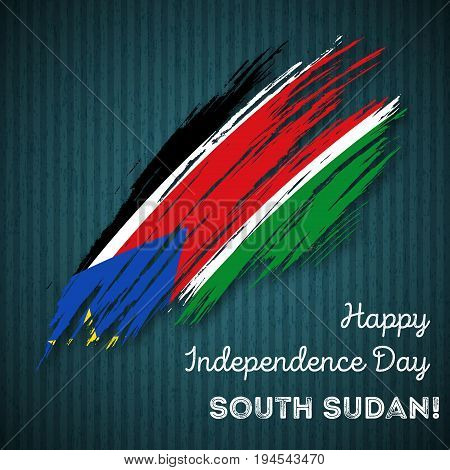 South Sudan Independence Day Patriotic Design. Expressive Brush Stroke In National Flag Colors On Da