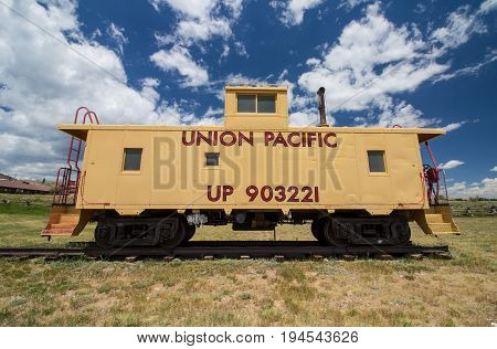 CENTENNIAL, WYOMING - July 8, 2017: An old Union Pacific caboose train car on display at a museum in Centennial, WY.
