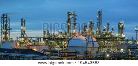 Petrochemical plant view on blue sky background