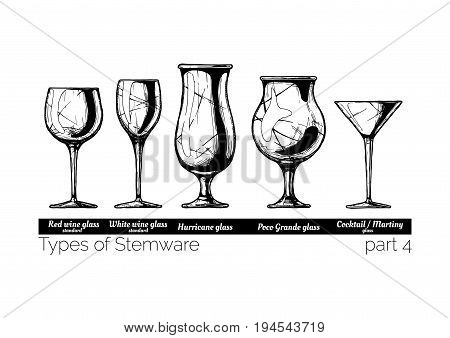 Types of Stemware. Wine glass hurricane poco grande and cocktail glasses. illustration of stemwares in vintage engraved style. isolated on white background.