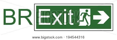 Brexit exit sign representing the United Kingdom exit from the European Union resulting from the June 2016 referendum