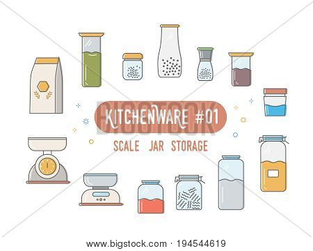 Set of vector line icons a theme kitchenware. Kitchen scale, glass jar for storage or cooking