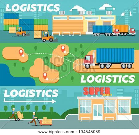 Retail logistics and distribution poster. Freight trucking service, warehousing and storage management. Goods delivery infographics, cargo shipping business vector illustration in flat style.
