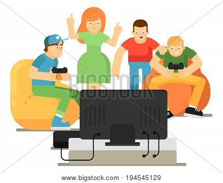 Emotional young people playing in video game console at home. Group of teen friends having video games party. Friendship, gaming competition and entertainment vector illustration in flat style.