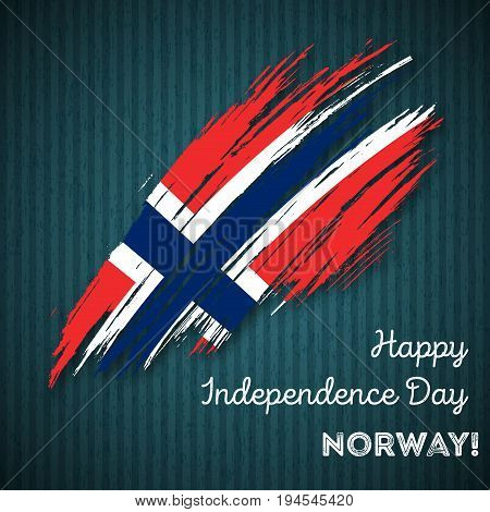 Norway Independence Day Patriotic Design. Expressive Brush Stroke In National Flag Colors On Dark St