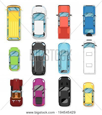 Top view modern city car set. Hatchback, universal, pick up, van, off road truck, suv, sport car isolated vector illustration. Comfortable auto vehicle, people city transport in flat design.