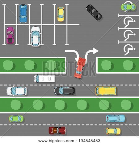 Traffic laws poster in flat style. Urban traffic concept, top view parked cars in parking zone, public parking lot, city transport services. Highway code banner vector illustration.