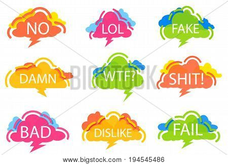 Trendy speech bubble colorful set. Most commonly used acronyms and replica collection. No, lol, fake, damn, wtf, shit, bad, dislike, fail label isolated on white background vector illustration.