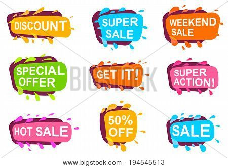 Trendy speech bubble set for retail. Most commonly used acronyms and replica collection. Discount, super sale, weekend sale, special offer, get it, super action, hot sale label vector illustration.