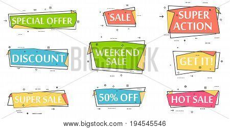 Speech bubble set for retail promotion. Most commonly used acronyms and replica collection. Discount, super sale, weekend sale, special offer, get it, super action, hot sale label vector illustration.