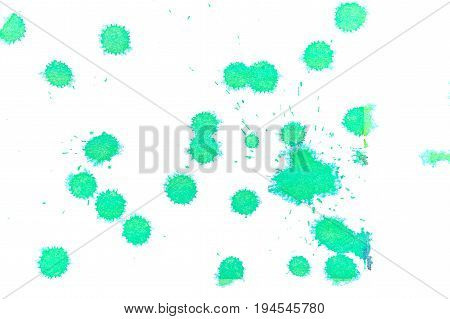 Abstract green ink splash. Ink blots. Elements of design. The water-soluble ink on white paper Leste. Abstract contemporary art.