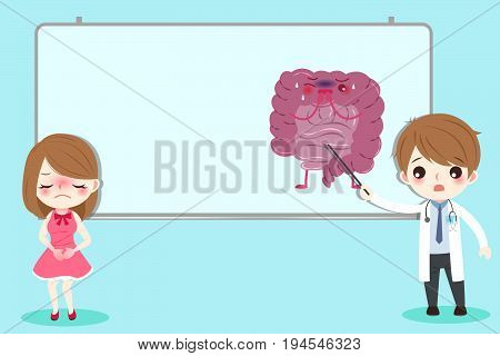 cartoon people with intestine health concept on green background