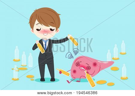 businessman with liver drink beer on the blue background